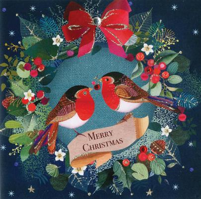 Festive Robins Luxury Hand-Finished Christmas Card