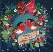Festive Robins Luxury Hand-Finished Christmas Card