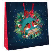 Large Robins In Wreath 35cm x 35cm Christmas Gift Bag With Tag