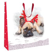 Large Pug With Antlers 35cm x 35cm Christmas Gift Bag With Tag