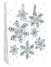 Medium Snowflake 24cm x 30cm Christmas Gift Bag With Tag