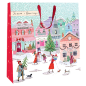 Small Christmas Town 22cm x 22cm Christmas Gift Bag With Tag