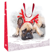 Small Pug With Antlers 22cm x 22cm Christmas Gift Bag With Tag