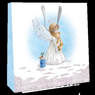 Small Angel Cuddling Teddy Bear 22cm x 22cm Christmas Gift Bag With Tag