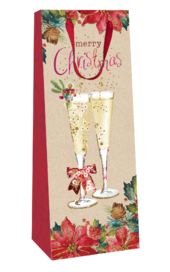 Merry Christmas Champagne Christmas Bottle Bag Christmas Gift Bag With Tag