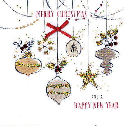 Merry Christmas & A Happy New Year Christmas Card Hand-Finished