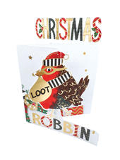 Happy Christmas Robbing Robin 3D Christmas Card