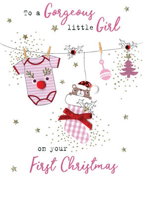 Baby Girl 1st  Irresistible Christmas Greeting Card