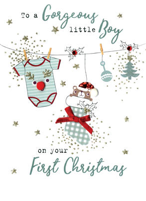 Baby Boy 1st   Irresistible Christmas Greeting Card