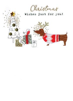 Sausage Dog  Irresistible Christmas Greeting Card