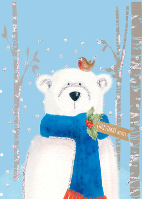 You Name It! Bear & Robin Christmas Card With Space For Childs Name Topper