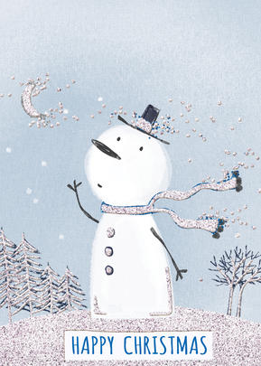 You Name It! Snowman Christmas Card With Space For Childs Name Topper