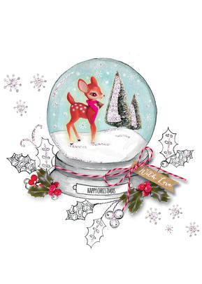You Name It! Snow Globe Christmas Card With Space For Childs Name Topper