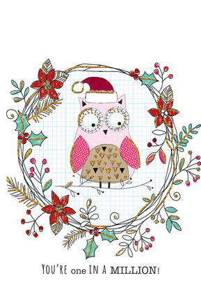 You Name It! Owl Christmas Card With Space For Childs Name Topper