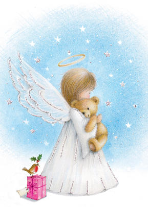 You Name It! Angel Christmas Card With Space For Childs Name Topper