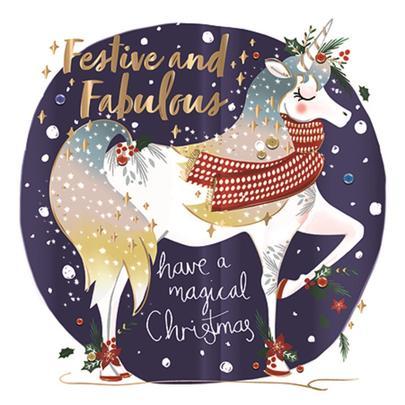Festive & Fabulous Unicorn Foiled Christmas Greeting Card