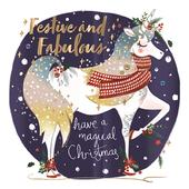 Festive & Fabulous Unicorn Foiled Christmas Greeting Card