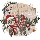 Eat, Sleep & Be Merry Sloth Foiled Christmas Greeting Card