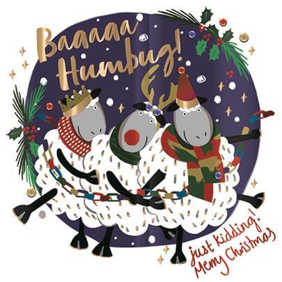 Baaaaa Humbug Sheep Foiled Christmas Greeting Card
