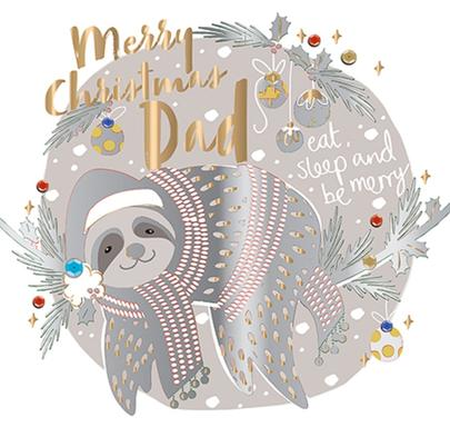 Merry Christmas Dad Foiled Christmas Greeting Card