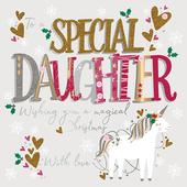 To Special Daughter Embellished Christmas Greeting Card Special