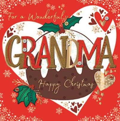 For A Wonderful Grandma Embellished Christmas Greeting Card Special