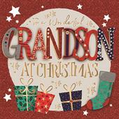 To A Wonderful Grandson Embellished Christmas Greeting Card Special