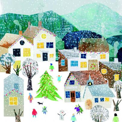 Pack of 8 Snowy Village British Heart Foundation Charity Christmas Cards