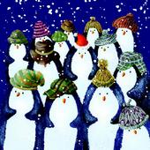 Pack of 8 Penguins In Hats Marie Curie Charity Christmas Cards