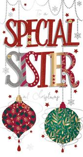 Special Sister Embellished Christmas Greeting Card