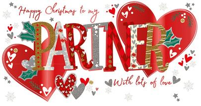 To My Partner Embellished Christmas Greeting Card