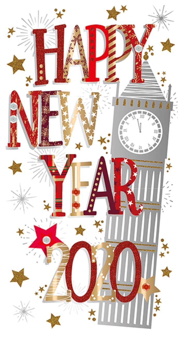 Happy New Year 2020 Embellished Christmas Greeting Card ...