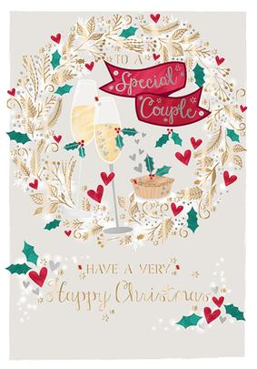 To A Special Couple Embellished Christmas Greeting Card