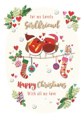 For My Lovely Girlfriend Embellished Christmas Greeting Card