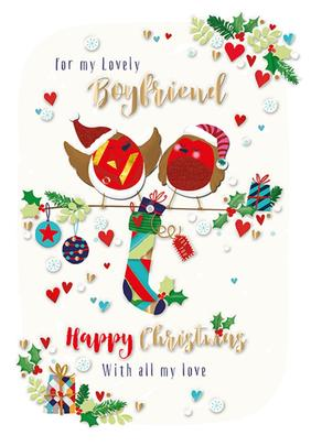 For My Lovely Boyfriend Embellished Christmas Greeting Card