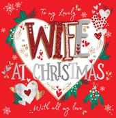 Lovely Wife Large Square Embellished Christmas Card