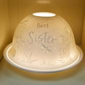 Nordic Lights Best Sister Bone Porcelain Candle Shade