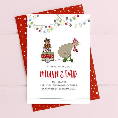 Most Fabulous Mum & Dad Christmas Card Deck The Halls Range
