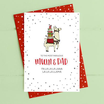 Mum & Dad Llama Christmas Card Deck The Halls Range