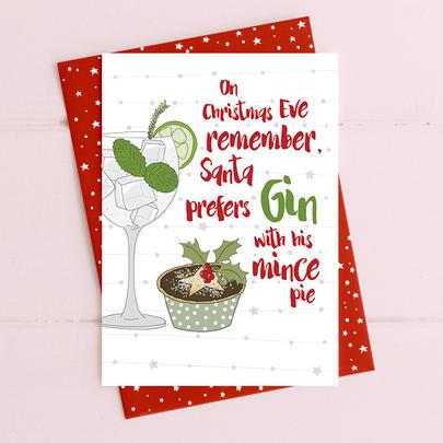 Santa Prefers Gin Christmas Card Gin-gle Bells Collection