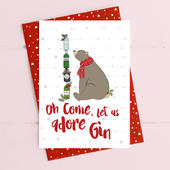 Oh Come Let Us Adore Gin Christmas Card Gin-gle Bells Collection