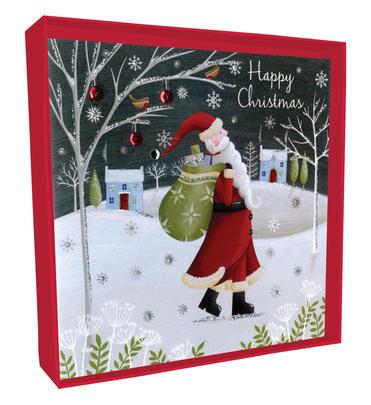 Box of 4 Santa Hand-Finished Christmas Cards