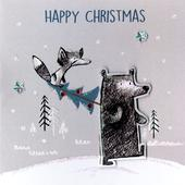 Box of 5 Bear & Fox Hand-Finished Christmas Cards