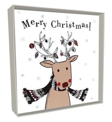Box of 4 Reindeer Hand-Finished Christmas Cards