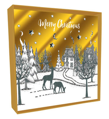 Box of 4 Village Scene Hand-Finished Christmas Cards