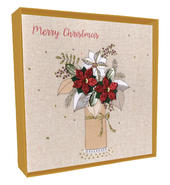 Box of 4 Poinsettia Hand-Finished Christmas Cards