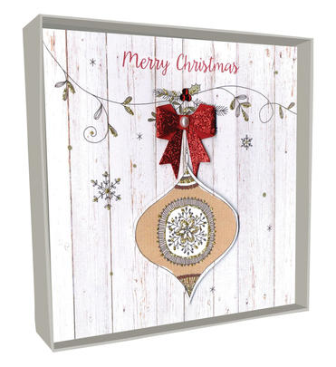 Box of 4 Bauble Hand-Finished Christmas Cards