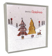Box of 4 Tree & Sleigh Hand-Finished Christmas Cards
