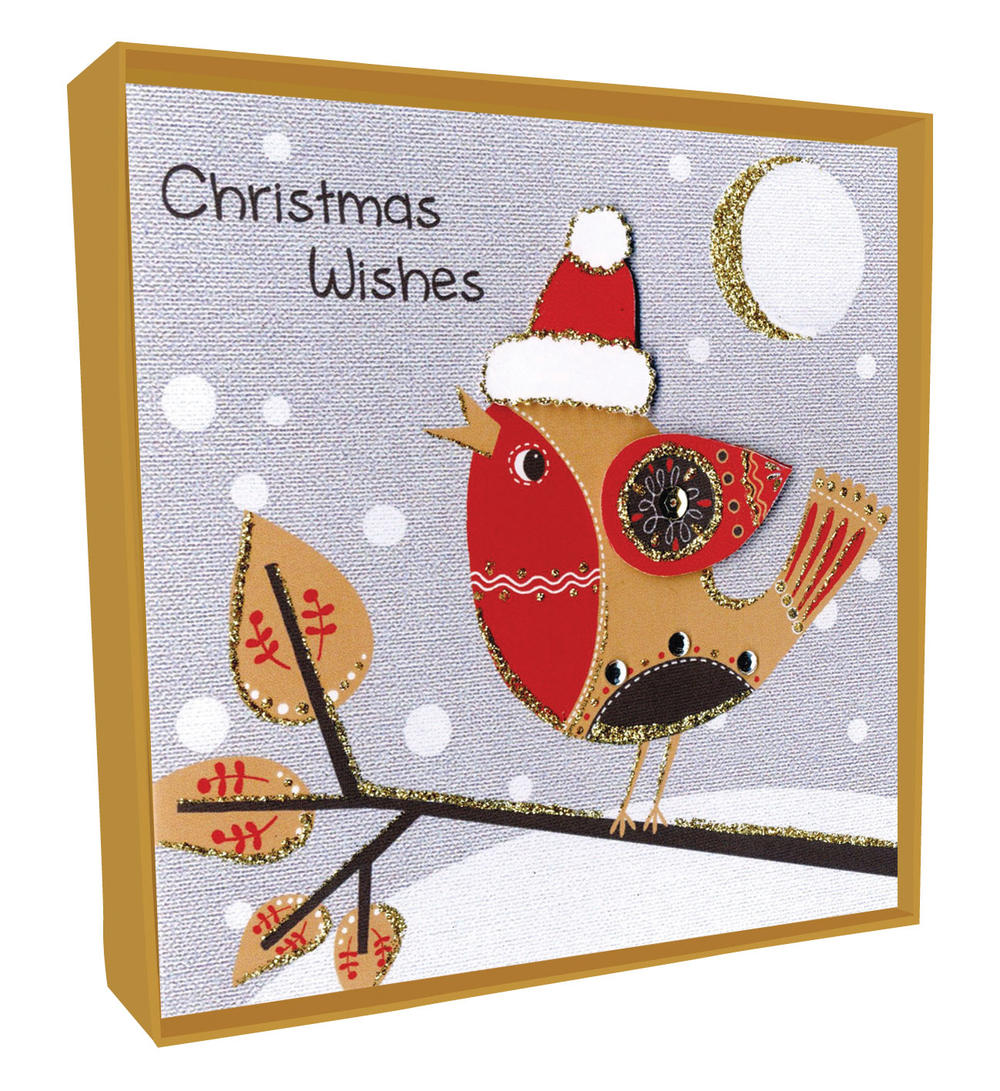 Box of 4 Robin Hand-Finished Christmas Cards