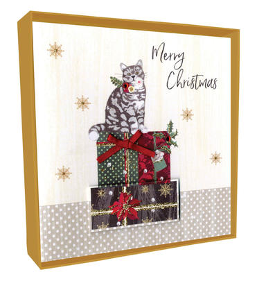 Box of 4 Cat Hand-Finished Christmas Cards